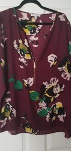 Like new burgundy floral blouse